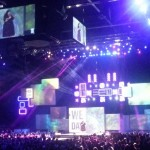 Candy speaking center stage of WeDay, note the jumbo tron, and how immensely massive this place is.  Halifax Metro Centre. So fun.