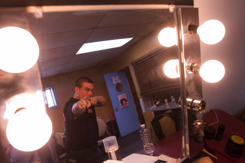 In the green room