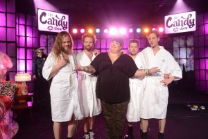Gloryhound - Canadian Rock band on set of The Candy Show, Season 4, with Comedian/ Host Candy Palmater